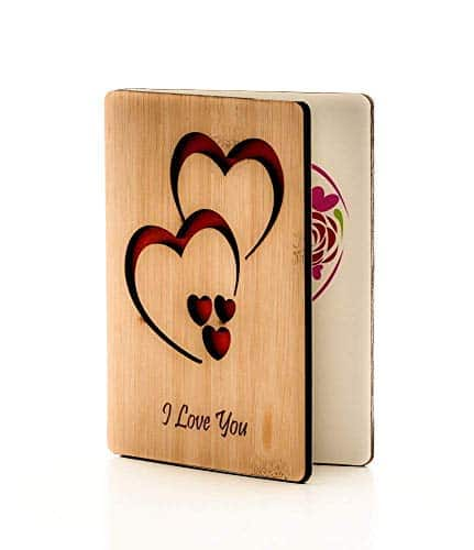 Real Bamboo Wooden I Love You Cards