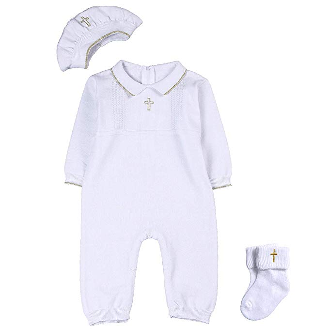 Baby Boy Baptism Outfit with Hat and Socks