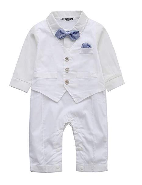 Baby Boy Long Sleeve Gentleman White Shirt Waistcoat Bowtie Tuxedo