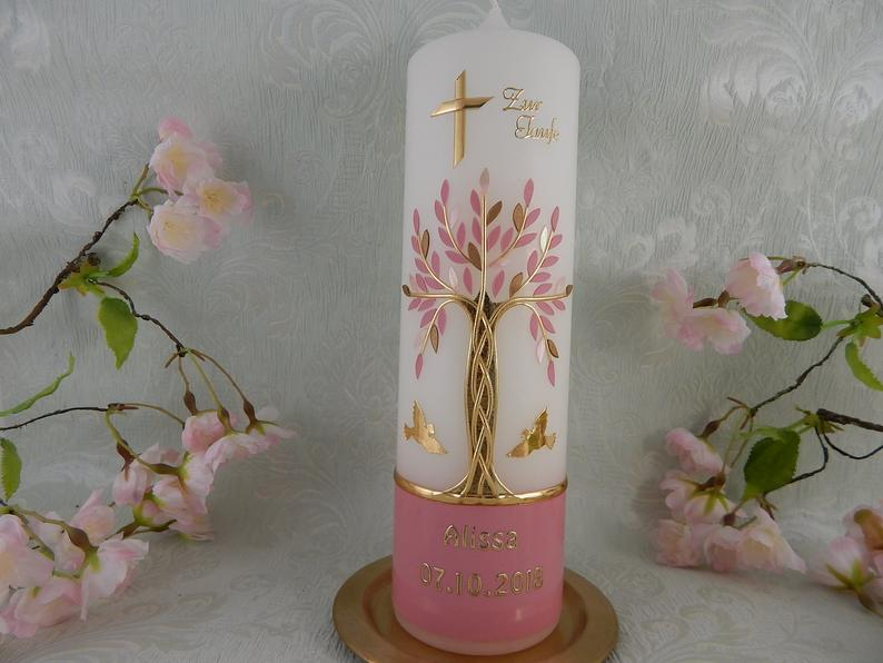 Baptism Candle Tree of Life