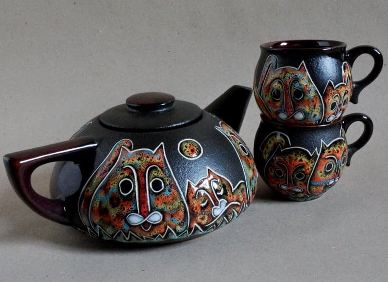 Ceramic tea set Cats