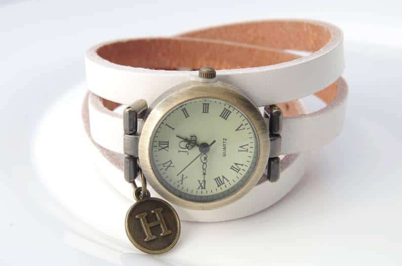 Monogrammed leather watch Personalized