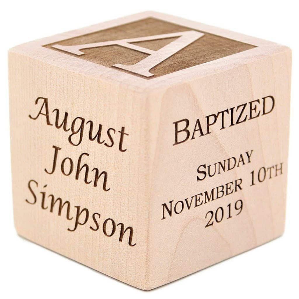 18 Meaningful Baptism Gift Ideas For a Boy - Personalized Baby Baptism Wood Block