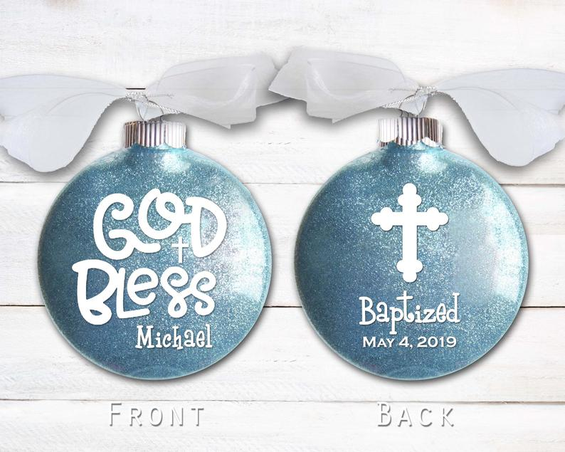 Personalized Disk-shaped Baptism Ornament