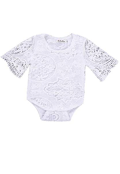 White Hollow Ruffles Sleeve Lace Romper Sunsuit