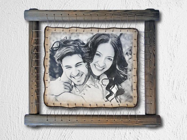 Custom Photo Engraved on Real Leather Photo Frame
