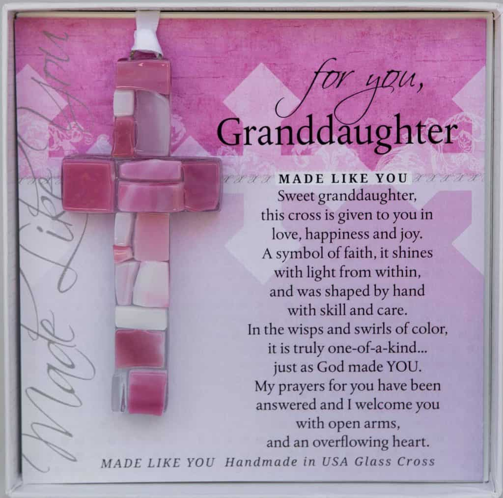 Hand-made Mosaic Glass Cross with Loving Sentiments