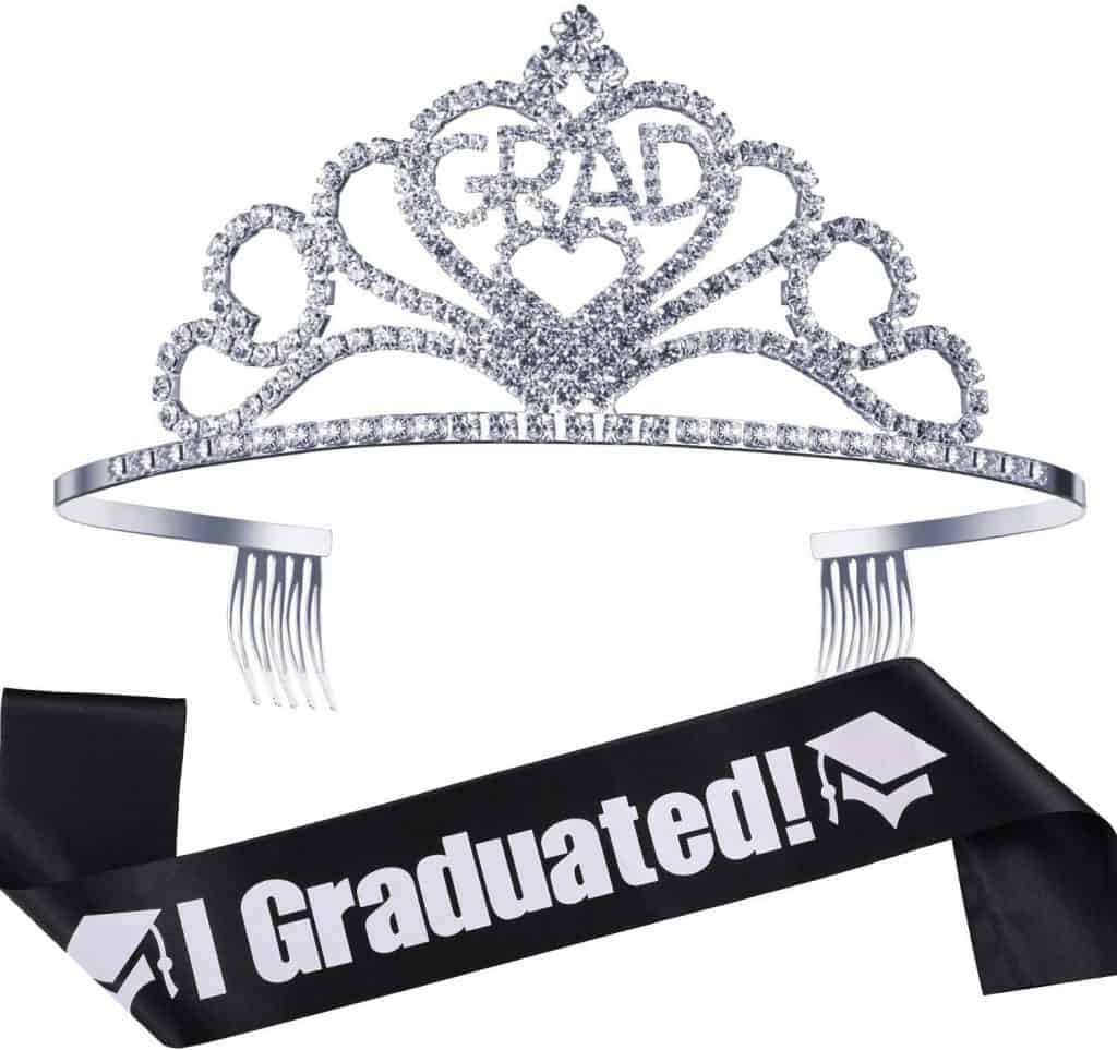 Graduation Princess Grad Crown Tiara and Graduated Sash kindergarten school graduation gift for girls