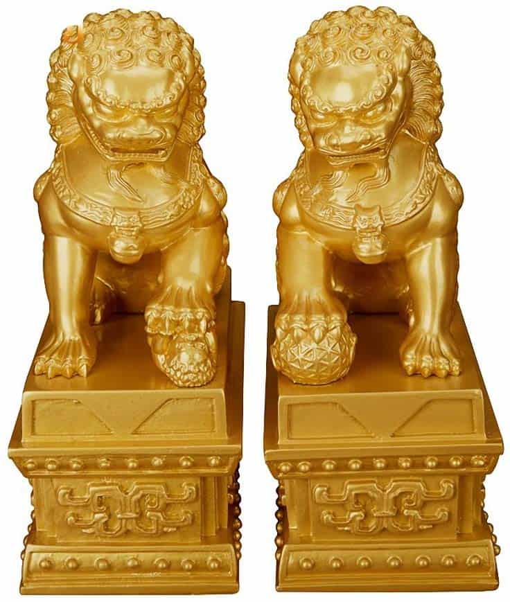 Pair of Fu Foo Dogs Guardian Lion Statues housewarming gifts traditional